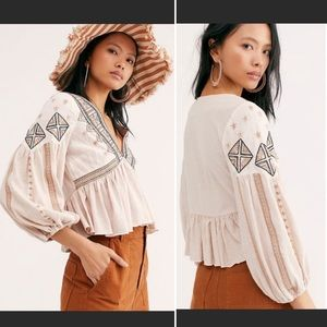 NEW Free People Aria Star Embroidered Peasant Top
